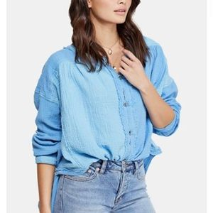 NEW Free People Moving Mountains Button Up Top